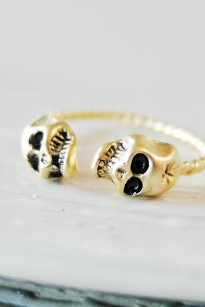 Knuckle Ring Adjustable Ring Skull Heads Ring In Gold
