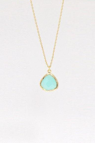 Mint Drop Necklace Everyday Jewelry Delicate Minimal Jewelry