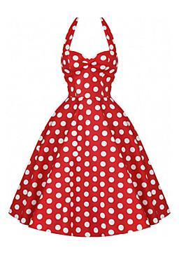 2016 New fashion Women's Vintage 1950's Prom Polka Dot A-line Halter Swing Dress