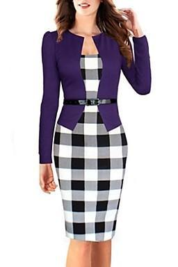 2016 new fashion Women's Vintage Plaid Bateau Fake Two Check Patchwork Sheath Sleeve Dress