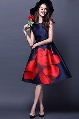 2016 new fashion Women's Red Flower Vintage Swing Midi Dress