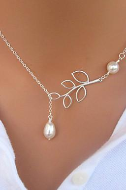 New Vintage Four Pearl Leaf Shape Pendant Necklace for 2016 Valentine's Day and mother's Day