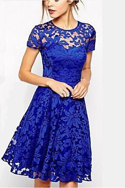 2016 Women's Sexy Round Neck Solid Color Lace Dress