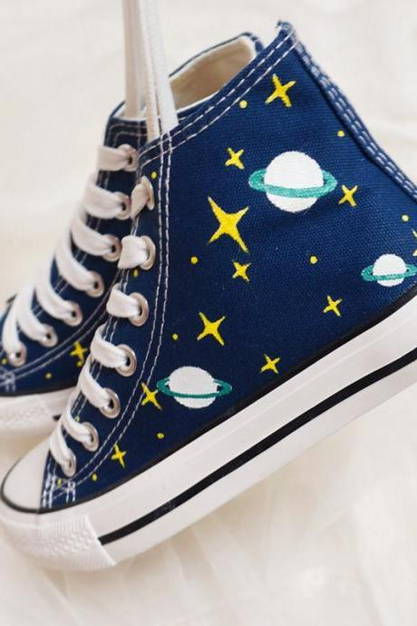 2016 New fashion cute women Universe galaxies high-top hand-painted canvas shoes