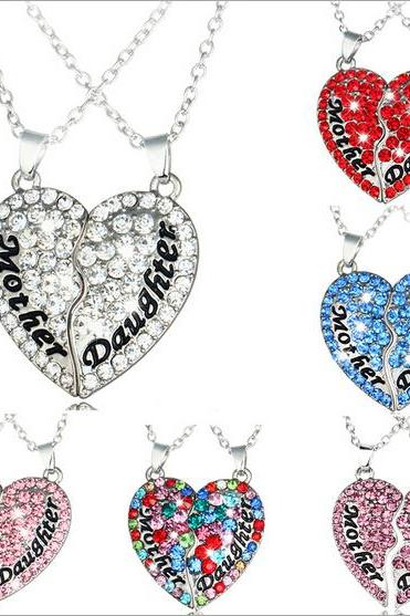 2016 new foreign trade selling paternity paragraph Mom and daughter mosaic heart-shaped diamond pendant necklace Mother's Day gift