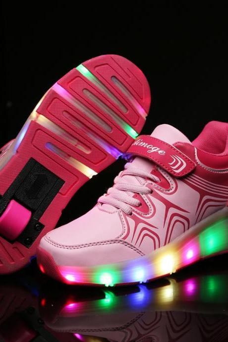 New fashion Children Shoes With Wheel LED Lighted Roller Skates Sport Casual Roller Heelys For Chid And Adult Fashion Kids Flash Sneakers