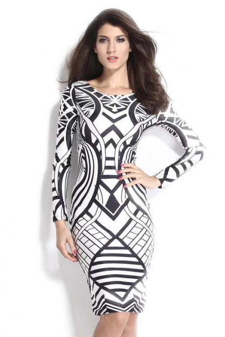 New 2016 summer fashion Tribal Aztec Black White Tight-Fitting Midi Dress