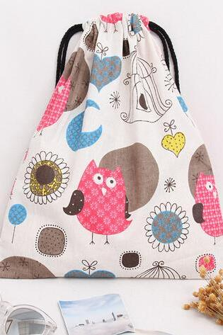 2016 women's cartoon owl sticks pretty cotton canvas backpack