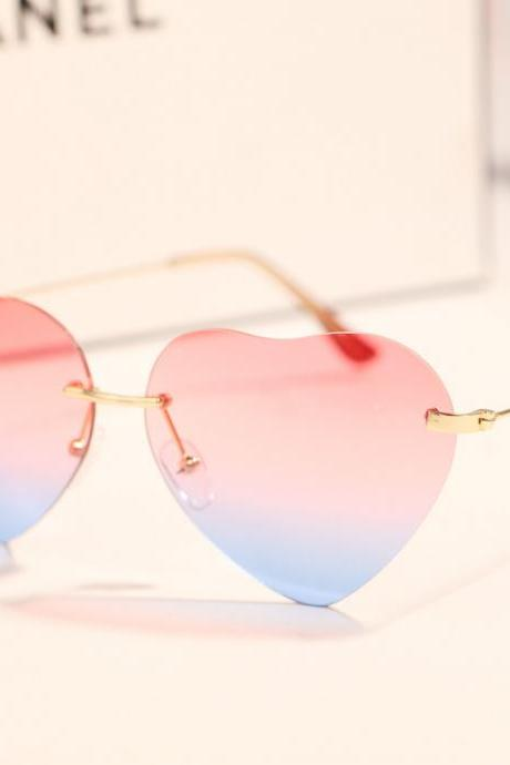 2016 fashion Harajuku Heart-shaped sunglasses gradient sunglasses for summer