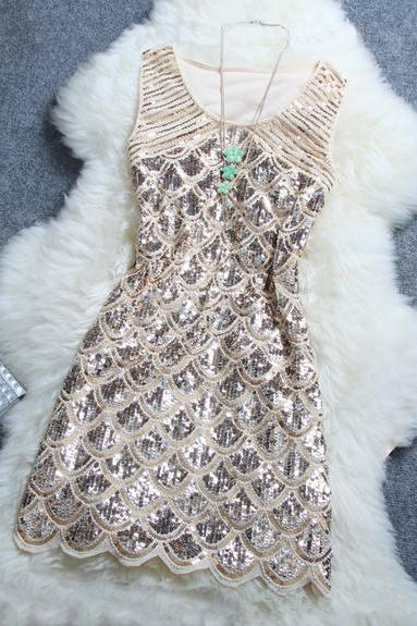 2016 Fashion women Sleeveless Dress Sexy Sequins for summer