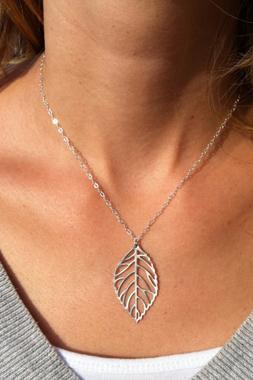 2016 New fashion Leaf Charmed Silver Necklace