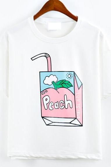 2016 New fashion Harajuku Peach 3D Summer T-shirt for women