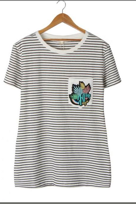 2016 European style striped pocket cactus embroidered women's short-sleeved T-shirt