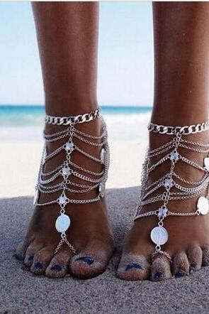 2016 New Woman Fashion Summer Sexy Silver Tassel Anklet Coin Pendant Chain Ankle Bracelet Foot Jewelry Barefoot Sandal
