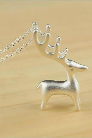 Women's 925 sterling silver deer necklace