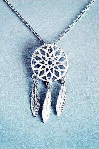DreamCatcher Silver Hollow Leave Tassel Pendant Original Necklace