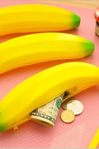 Lovely silicone banana pen bag coin bag change pocket