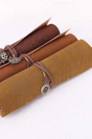 Retro pirate treasure map imitation leather roll pen bag pencil bag cosmetic bag
