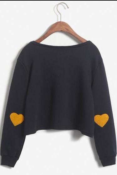 Women's Autumn Heart-shaped Long Sleeve Pullovers Hoodies Crop Top