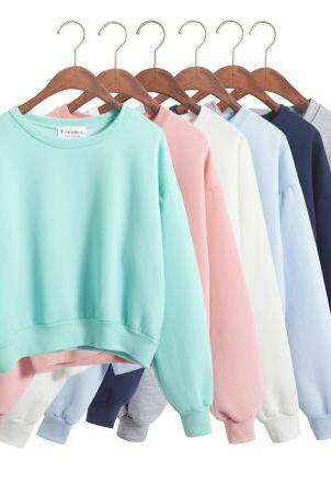 winter harajuku kawaii Turtleneck loose candy colors sport sweater hoodies