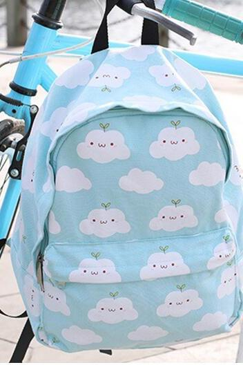women harajuku clouds printing canvas school backpack sport bag