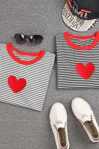 Women Embroidery Red Heart Tees Stripe Short Sleeve O-Neck Summer T Shirt Tops Tee