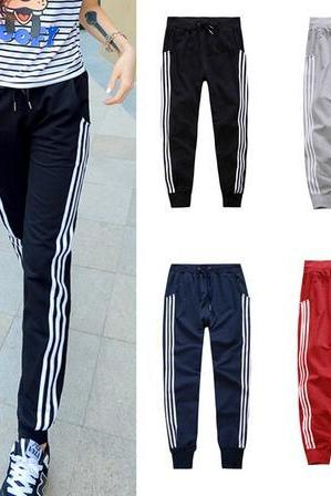 Womens Sport Three Vertical Stripe Jogging Slacks Pants
