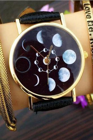 Vintage Style Moon Phase Watch