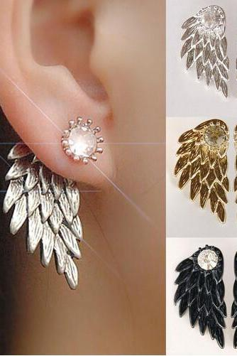Angel Wings Rhinestone Alloy Stud Earrings