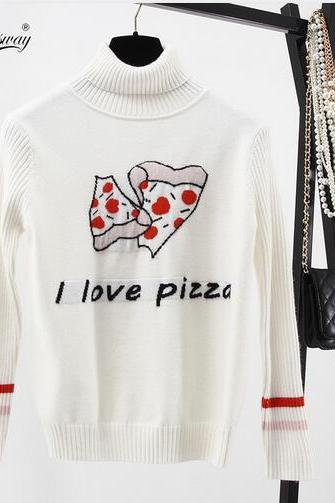 Women Harajuku style I love pizza letter embroidery angora cashmere knit pullover Sweater