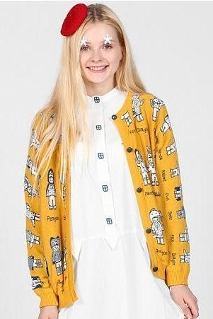 women Harajuku Mori girl cartoon printed knitted yellow sweater cardigans coat
