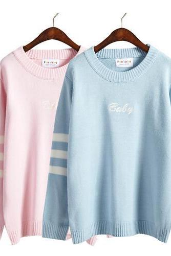 Women Winter Harajuku letter embroidery striped long-sleeved Sweaters