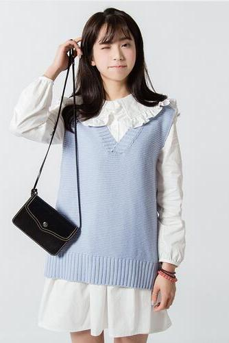 women's harajuku autumn knitted solid color V-neck sweaters cardigans
