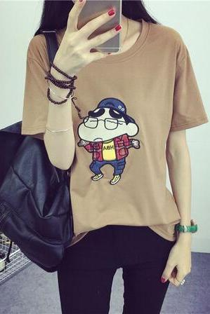 Women Harajuku Crayon Shin Cartoon Embroidery T shirt
