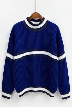 woman Harajuku bule and white striped knitting long-sleeved sweater