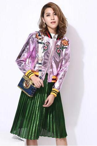 women metal color PU leather embroidered flowers baseball jacket #224