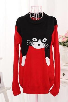 Women's Harajuku Cat Printed Loose Knitted Long Sleeve Pullovers sweater