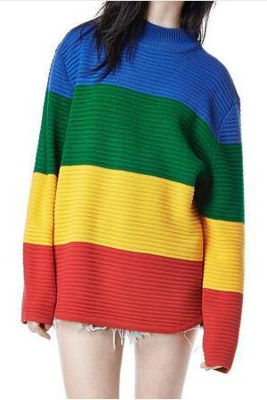 Women Rainbow Color Block Knitted Loose Oversized Jumper Pullovers Sweater