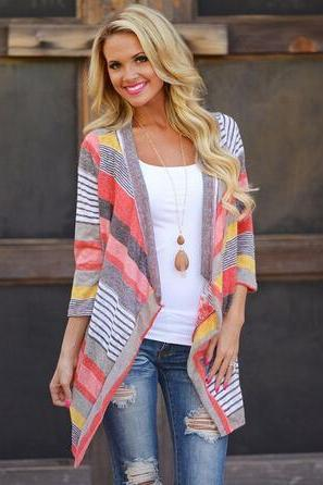 Women Rainbow Color Three Quarter Sleeve Knitted Cardigan Sweater Coat