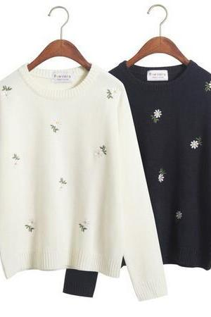 daisies embroidered sweaters