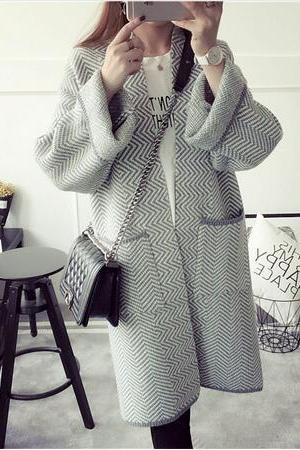 Harajuku Wave print Long Sleeve Loose Knitted Sweater Cardigans coat with pocket