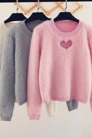 harajuku Hollow Out Heart Knitting Blouse Mohair Sweater
