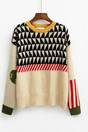 harajuku quilted geometric knitted women sweater