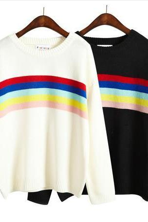 harajuku rainbow women winter sweater
