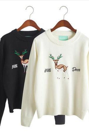 harajuku Christmas deer elk embroidered women autumn and winter sweater