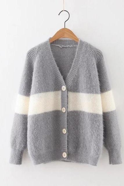 Gray Striped Vintage Cardigan