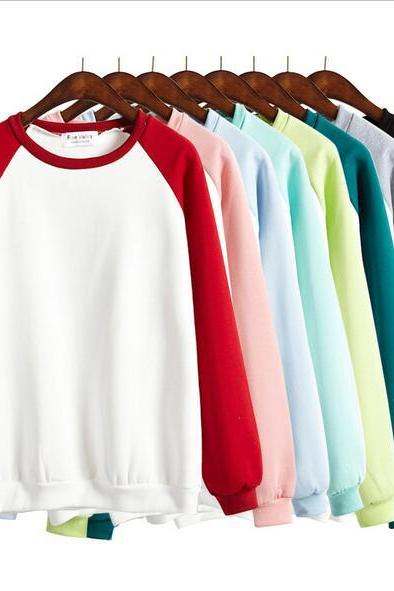Pure color loose Hoodie sweater