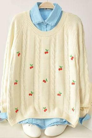 Cute O Neck Long Sleeved cherry Embroidery Knit Warm Women Winter Autumn Sweaters Pullovers