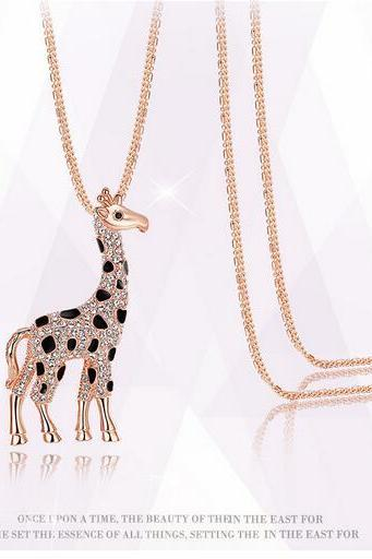 Free shipping Set auger sika deer sweater necklace
