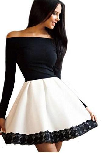 Off shoulder slim sexy lace Spliced Color Block Party Dress